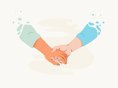 Friendship friendship hands vector character illustration