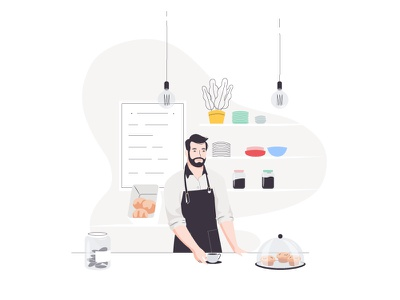 Café lisbon cafe barista character illustration