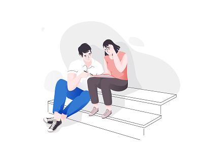 Study students study boy woman lisbon girl character illustration
