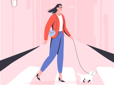 Dog walk city dog woman lisbon girl character illustration