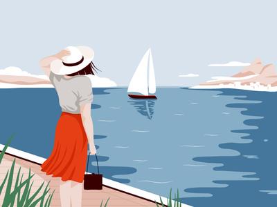 Breeze design graphic vector summer sailing boat coast beach woman character illustration