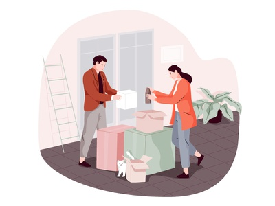 Moving boxes cat moving packing apartment couple house character illustration
