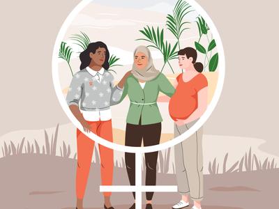 Unicef - girls empowerment women empowerment girls vector character illustration