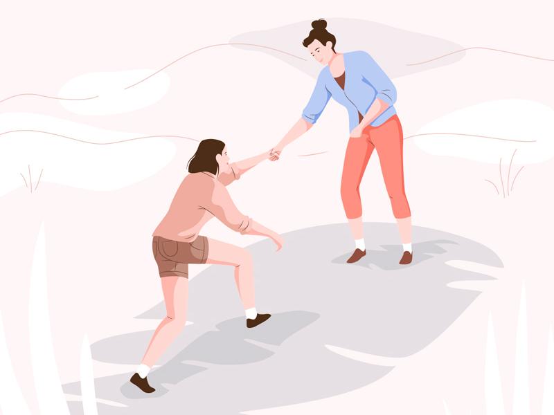 Helping vector help women love friends girls character illustration