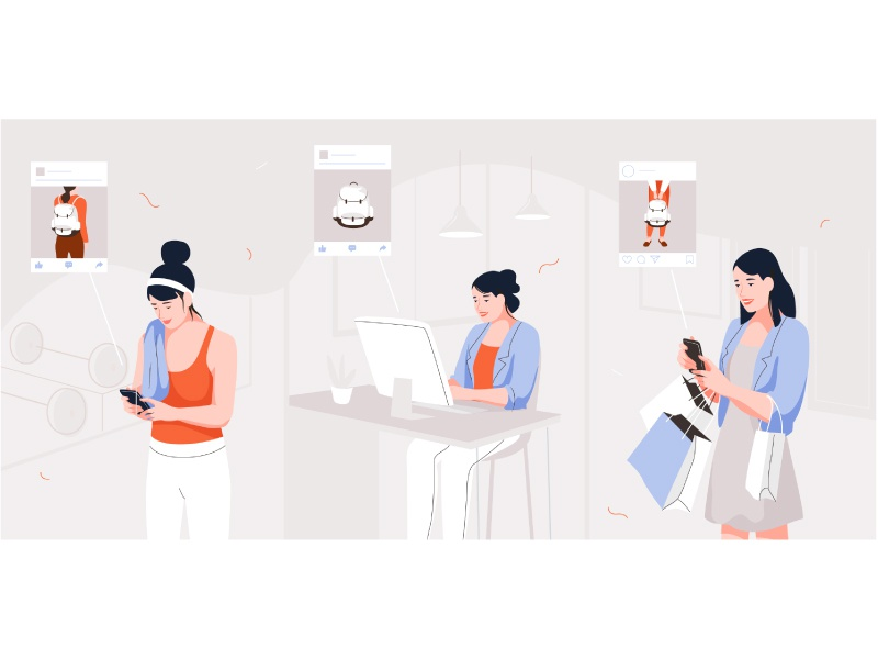Shopping shopping online shop vector women mobile app people character illustration