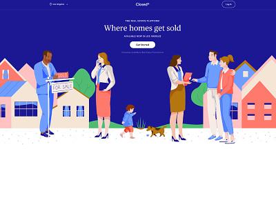 New Standard - real estate platform estate home business people house sale vector character illustration