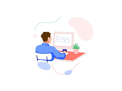 Working remote work desk web computer man vector character illustration