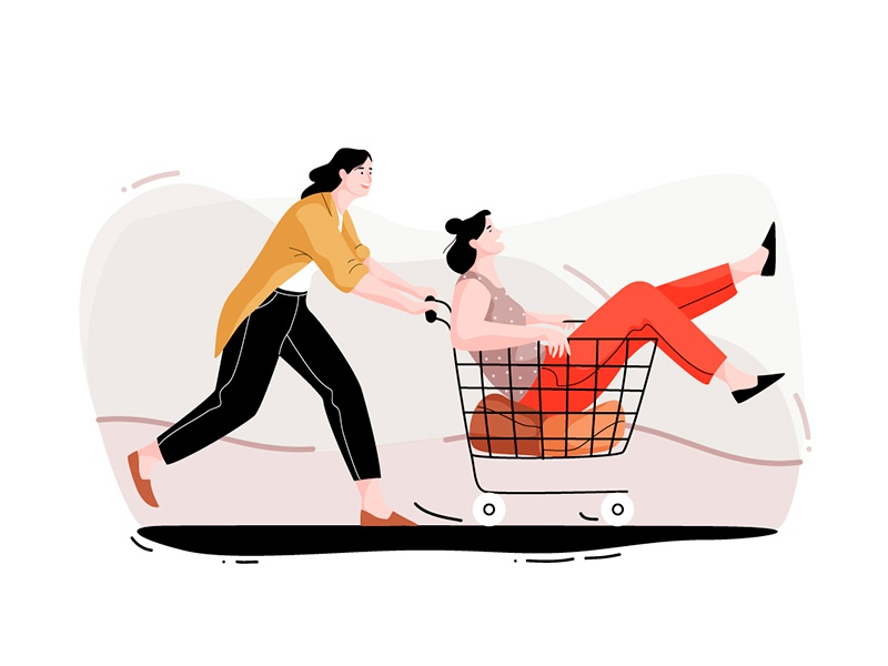 Shopping fun app web graphic pastel people vector cart shopping women character illustration