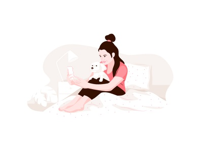 Happy moments pastel phone selfie bedroom dog woman graphic vector character illustration