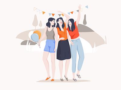 Festival season fun party summer festival girls vector illustration