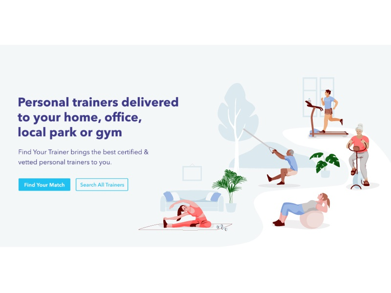 Training gym exercise trainer app web people character vector illustration illustrator