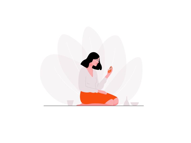 Lotus app web mirror plant pastel vector woman illustration