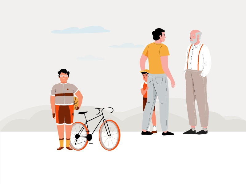Boys & bikes design ui people web app landscape pastel men vector boys bikes illustration