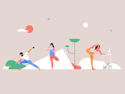 Yoga activities activity women nature mobile yoga web app design vector people pastel woman character illuatration