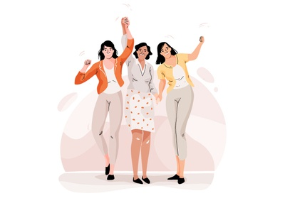 Coaching women coaching empower graphic character pastel web design mobile people women woman app vector illustration