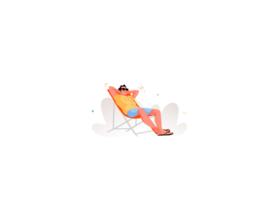 Happy weekend weekend beach lounge relax man character vector illustration