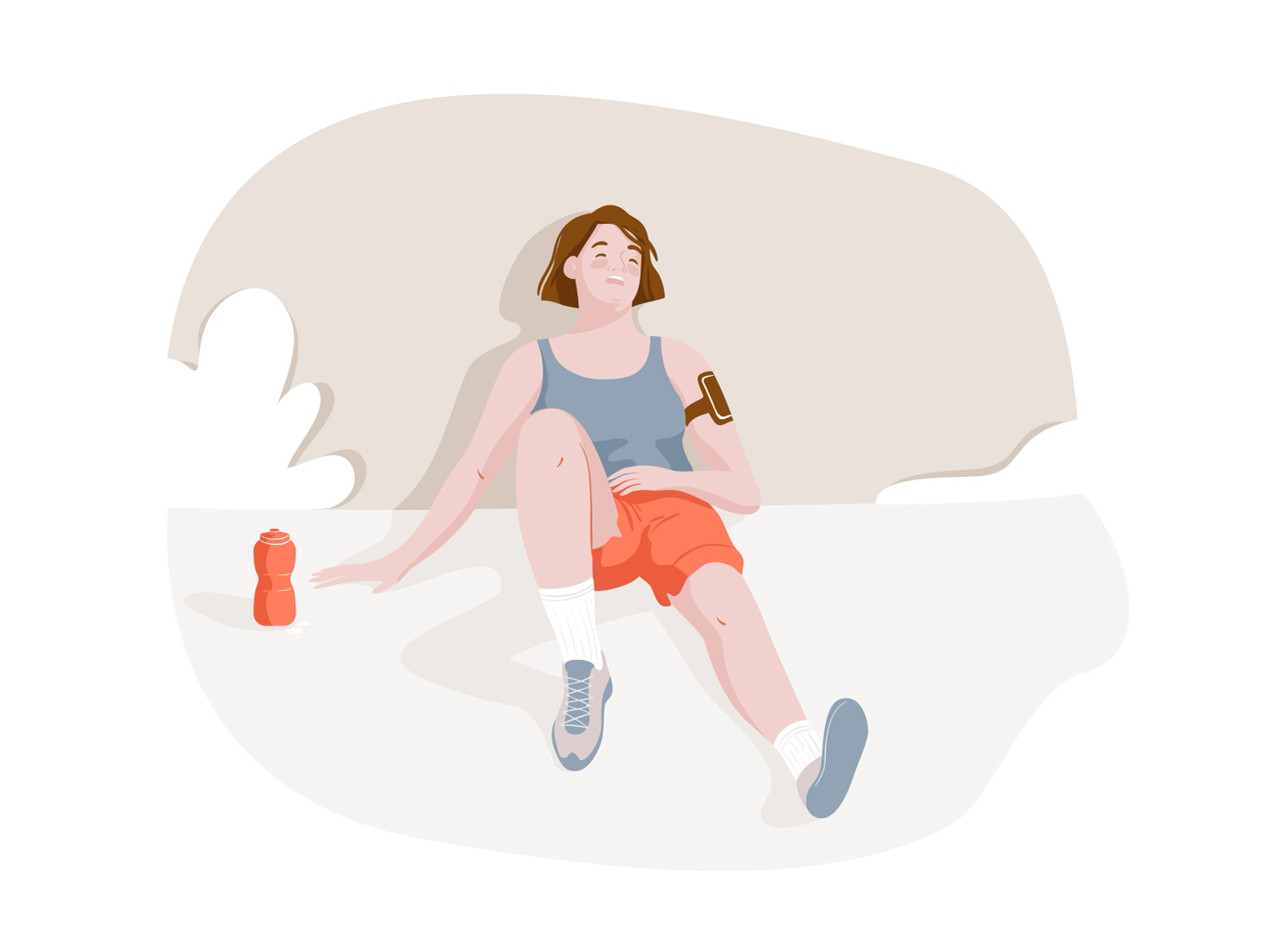 Workout tired workout run running sport graphic girl women pastel web woman vector character illustration