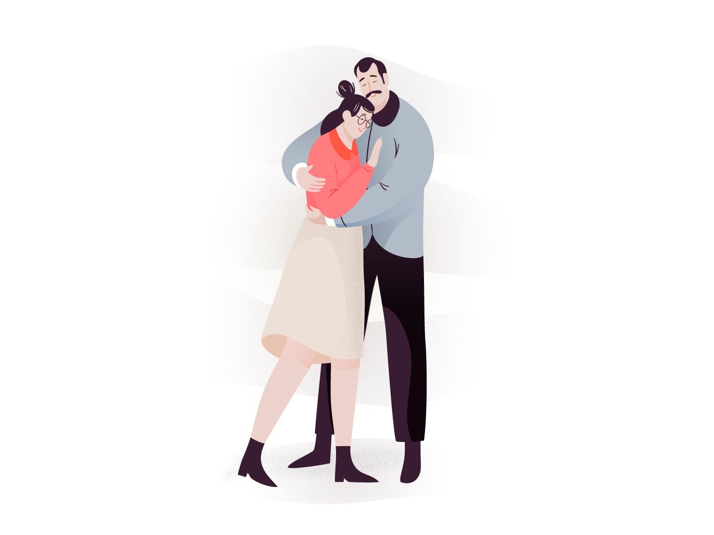 Keep warm warm hug couple app design mobile man pastel people vector woman character illustration