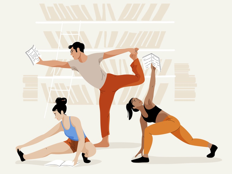 Work the mind & body book workout body mind read yoga mobile people pastel design woman app vector character illustration