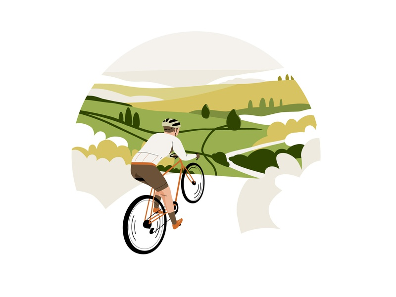 Cycling man landscape nature bike cycling mobile graphic web pastel app vector character illustration
