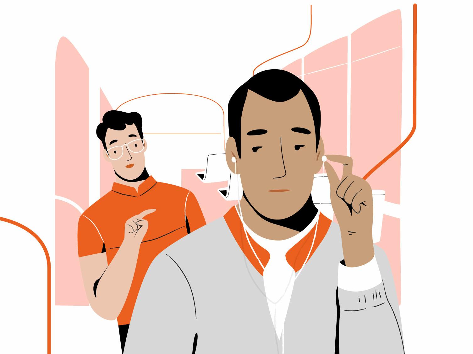 Uhm bus men design people app vector character illustration