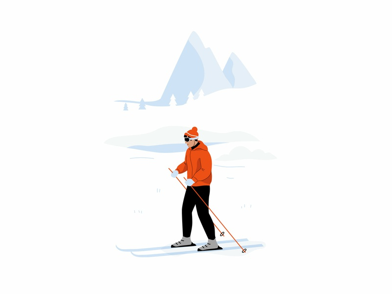 Ski nature mountain ski winter graphic pastel vector character illustration