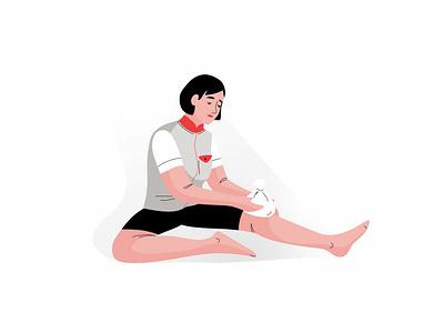 Injury injury leg cycling graphic pastel woman vector character illustration