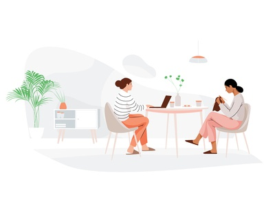 Tea & cake livingroom laptop knitting cake tea plant mobile women graphic people web pastel woman vector character illustration