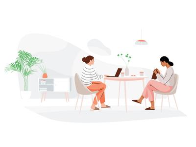 Tea & cake livingroom laptop knitting cake tea plant mobile women graphic people web pastel woman vector character illustration