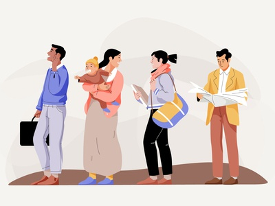Queuing man design mobile women people graphic web app pastel woman vector character illustration