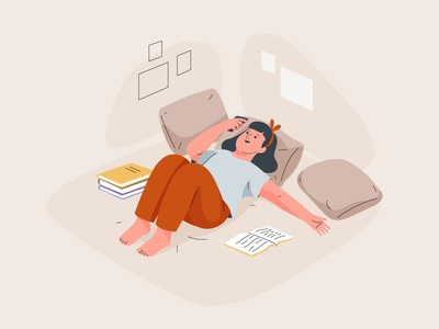 Sunday funday books reading girl mobile graphic web app pastel vector character illustration