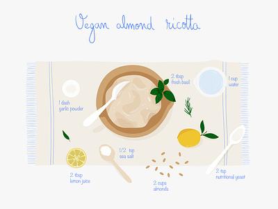 Vegan almond ricotta recipe ingredients vegan recipe cooking mobile graphic web app pastel vector illustration