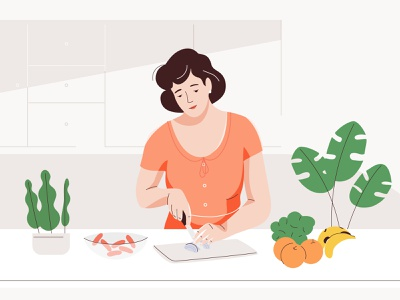 Cooking kitchen ingredients recipe cooking graphic pastel vector woman character illustration