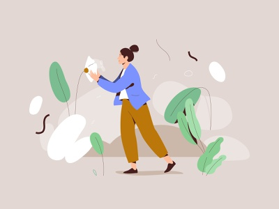 Smell the roses smell flower plant design nature women mobile web graphic app pastel woman vector character illustration