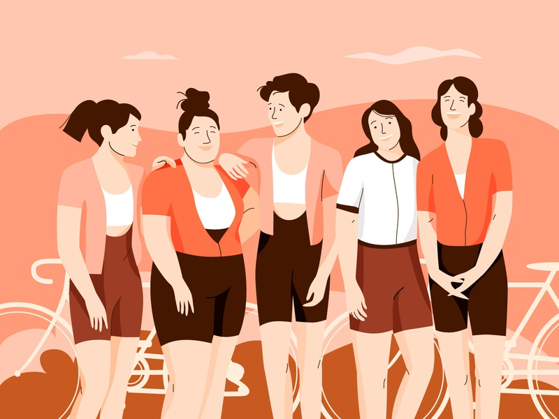Cycling girls team nature women people graphic pastel woman vector character illustration team bike girls cycling