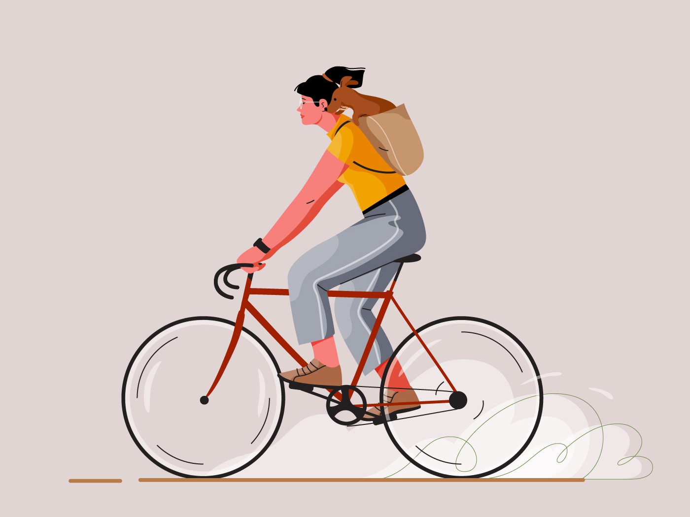 Cycling animal dog bicycle bike cycling girl graphic pastel woman vector character illustration