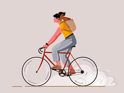 Cycling animal dog bicycle bike cycling girl graphic pastel woman vector character illustration