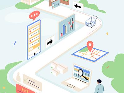 Customer journey insurance finance australia newzealand journey customer design man graphic app pastel vector character illustration