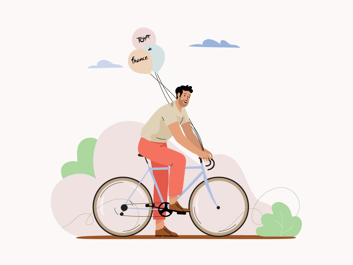 Tour de France bike race cicling bicycle cycle man pastel vector character illustration