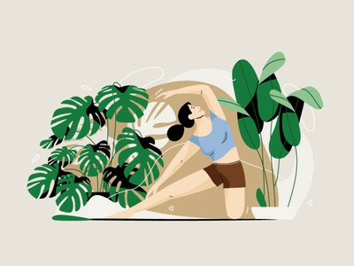 Stretching green mind body plant stretch yoga graphic woman pastel vector character illustration