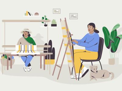 Artisans pet dog handmade eco sustainable fabric artisan craft design women graphic woman pastel vector character illustration