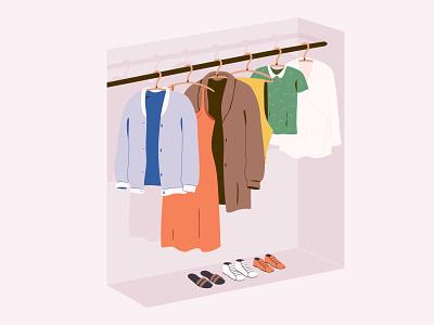 Clothing bio organic closet fabric sustainable clothing design graphic pastel vector illustration