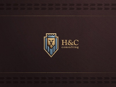 H and C logo design logo logo design logo designer freelance freelancer freelance logo designer wizemark srdjan kirtic identity brand branding custom texture textured color colored colorful lion animal face symbol sign mark consulting finance shield crown