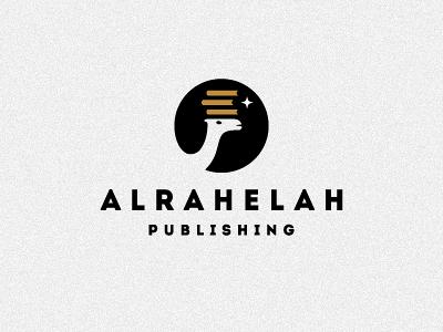 Alrahelah logo design 2 wizemark srdjan kirtic logo logos logo design logo designer freelance freelancer freelance logo designer bw black black and white gold book books camel animal star publishing