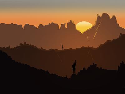 Mountains waving flat animation vector photoshop illustration design mountain