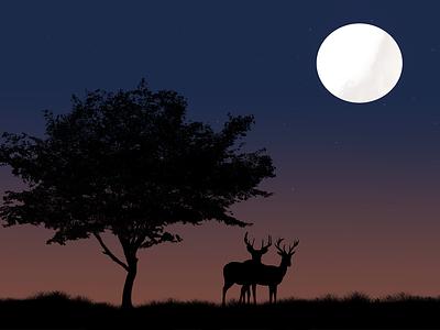 Wild Forest minimal vector photoshop mountain illustration flat design animation form moon forest
