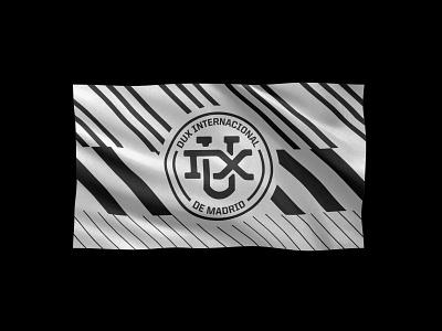 Flag and shield design for DUX Internacional de Madrid football shield soccer shield shield esports gaming dux branding brand flags club football soccer flag illustrator vector