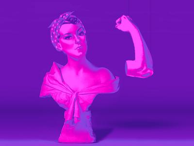 Feminist art museum design illustration