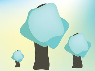 SPRING TREE vector spring leaves green website illustration minimal design