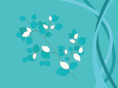 spring branch bloom leaves spring green icon website illustration vector design
